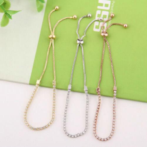 Fashion Women Rhinestone Cubic Zirconia Bracelet Adjustable Bangles Jewelry Gift