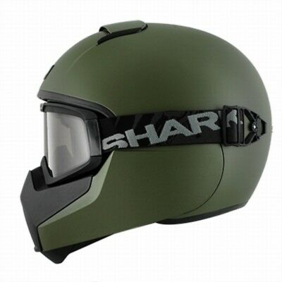 Motorcycle Helmet With Goggles Shark Vancore Blank Full Face Matt Green Medium