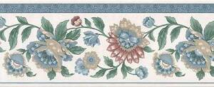 Wallpaper-Border-Traditional-Jacobean-Floral-Multi-Color-with-Blue-Trim
