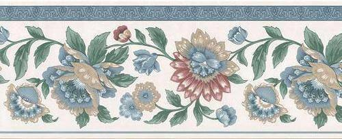 Wallpaper Border Traditional Jacobean Floral Multi Color with Blue Trim