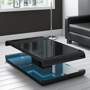 Details About High Gloss Black Coffee Table With Led Lighting Tiffany Range Tiff010