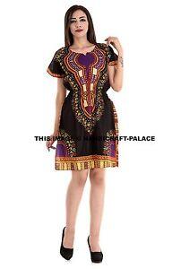 Femme-Africain-Ethnique-Moulante-Manches-Courtes-Robe-Ete-Plage-Robe-Dashiki-UK
