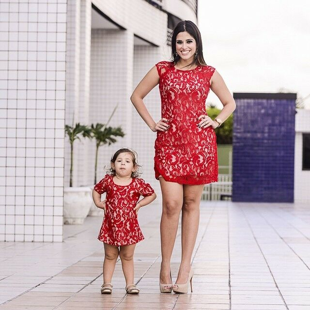 Women Mama Dress Red Lace Summer Casual Or Kids Girls Parent-Child Dress