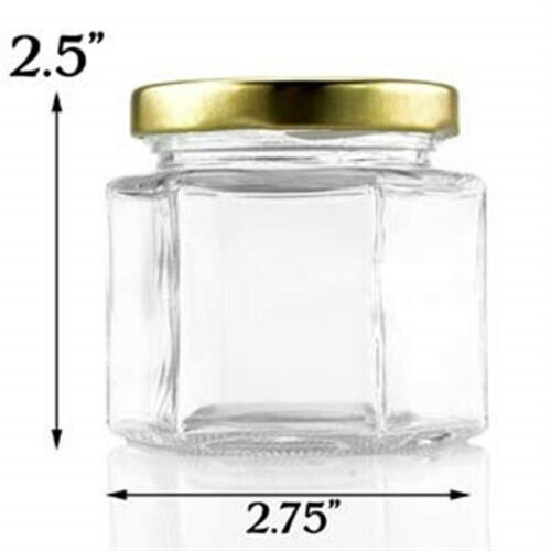 Empty Spices 4 oz Hexagonal Glass Containers w//Gold Lids Arts and Crats