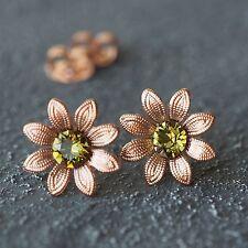 Neu OHRSTECKER rosegold SWAROVSKI STEINE khaki/grün BLÜTEN Ohrringe BLUMEN Blüte