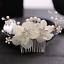Elegant White Yarn Flower Wedding Bridal Rhinestone Crystal Pearl Hair Clip Comb