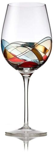 Red Wine Glasses Set of 2 Unique Hand Painted Wine Glasses 28oz Large Size