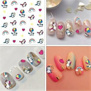 Unicorn Flower Hearts Cats 3d Nail Art Stickers Choice Of 14