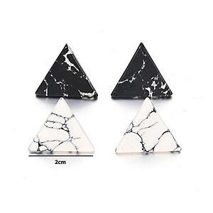 Lady Geometric Round Triangle Marble Pattern Earrings Punk