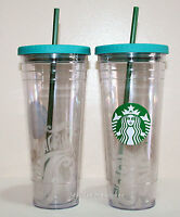 One 2014 Starbucks Hawaii 24 Oz Clear Venti Tumbler Coffee To Go Cold Cup Mug