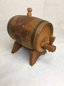 Art-Deco-Vintage-Oak-Wooden-Mini-Barrel-Whisky-Wine-Or-Burbon-Aging