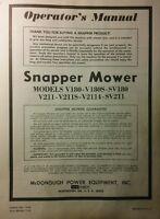 Snapper Lawn Mower V180 V180s Sv180 V211 Sv211 Owner, Service, Parts Manual 8pg