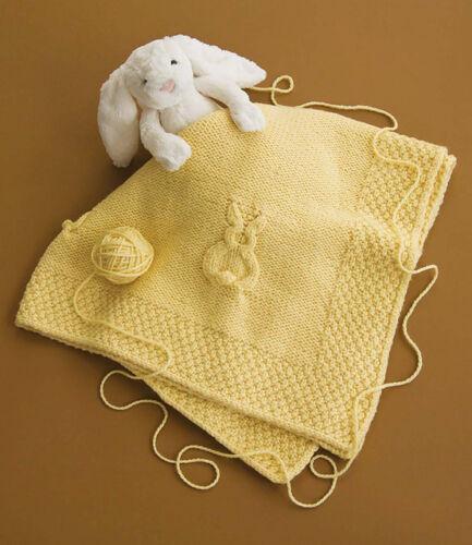 Bunny Rabbit Baby Blanket Chunky Wool 40 Square Knitting Pattern