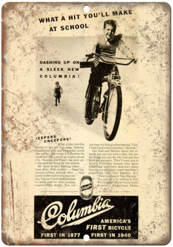 """Columbia Bicycle Vintage Art Ad 10/"""" x 7/"""" Reproduction Metal Sign B457"""