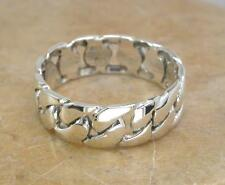 THICK MENS STERLING SILVER CHAIN LINK BAND RING size 10  style# r1017