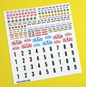 Corgi Dinky Matchbox Rally Race Retro Vintage style stickers decals, 43rd scale