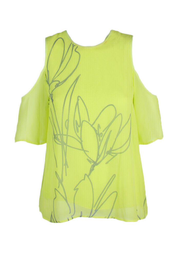 Vince Camuto Bright Lime Green Graphic Cold Shoulder Blouse XXS