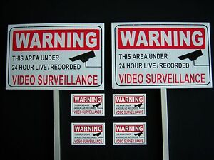 2-VIDEO-SURVEILLANCE-SIGNS-4-DECALS-2-STAKES-PS-419