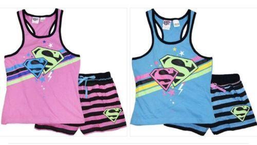 2 x Girls size 8  BLUE /& PINK  SUPERGIRL summer pyjamas pjs Super Girl NEW