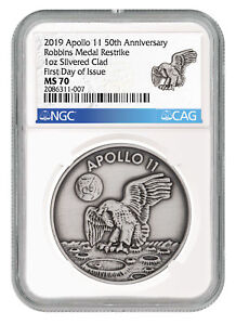 1969-2019-Apollo-11-Robbins-Medal-1oz-Silver-Plated-Medal-NGC-MS70-FDI-SKU55123