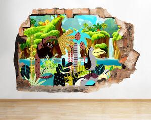 J407-Toucan-Sloth-animales-de-la-selva-pegatina-pared-vinilo-3d-habitacion-ninos
