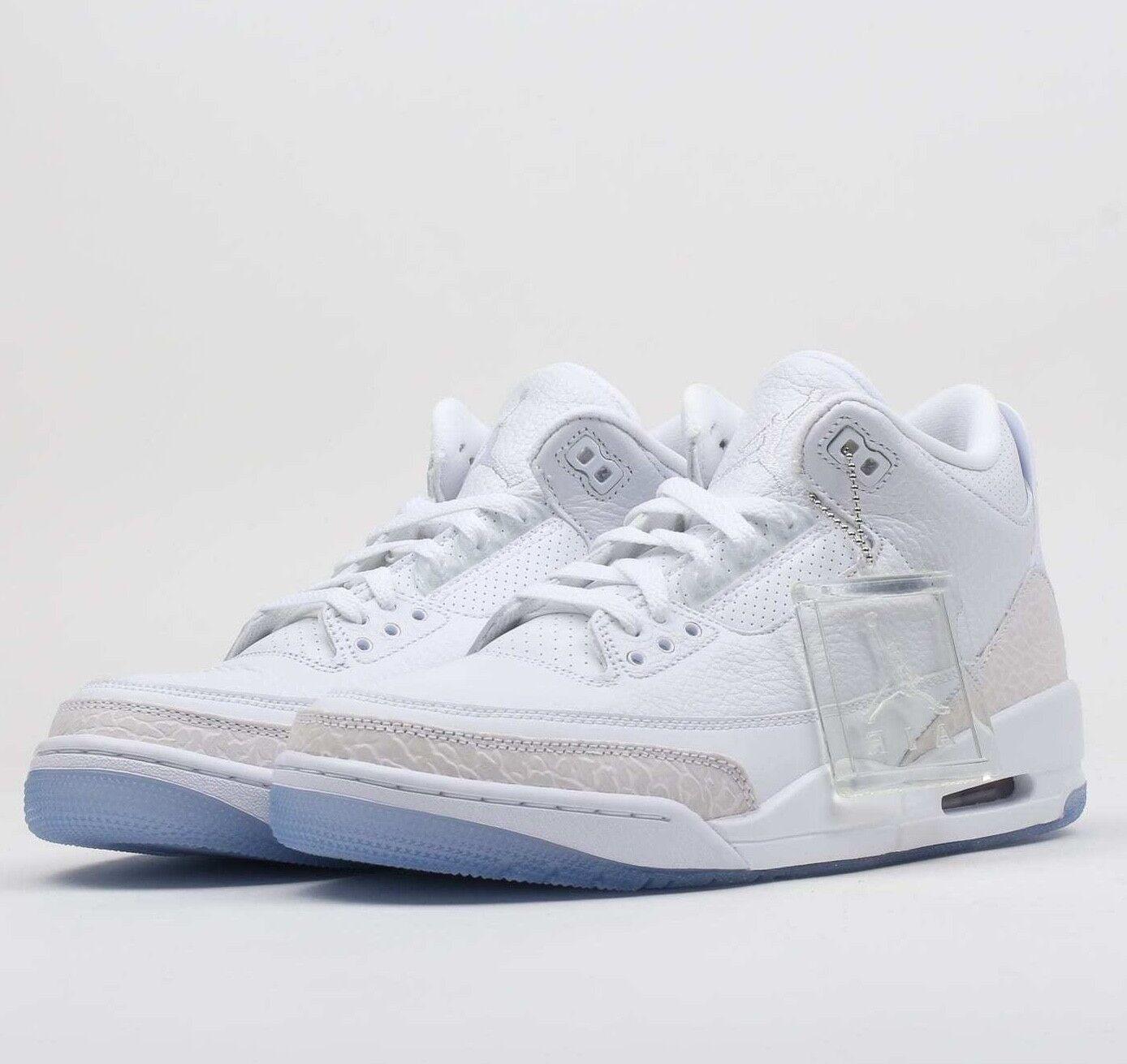 Air Jordan 3 Retro Pure bianca 136064-111 bianca-bianca Basketball Shoes NIB