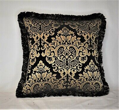 Black Gold Geometric Chenille Fringed Throw Pillow For Living Room Sofa Or Couch Ebay