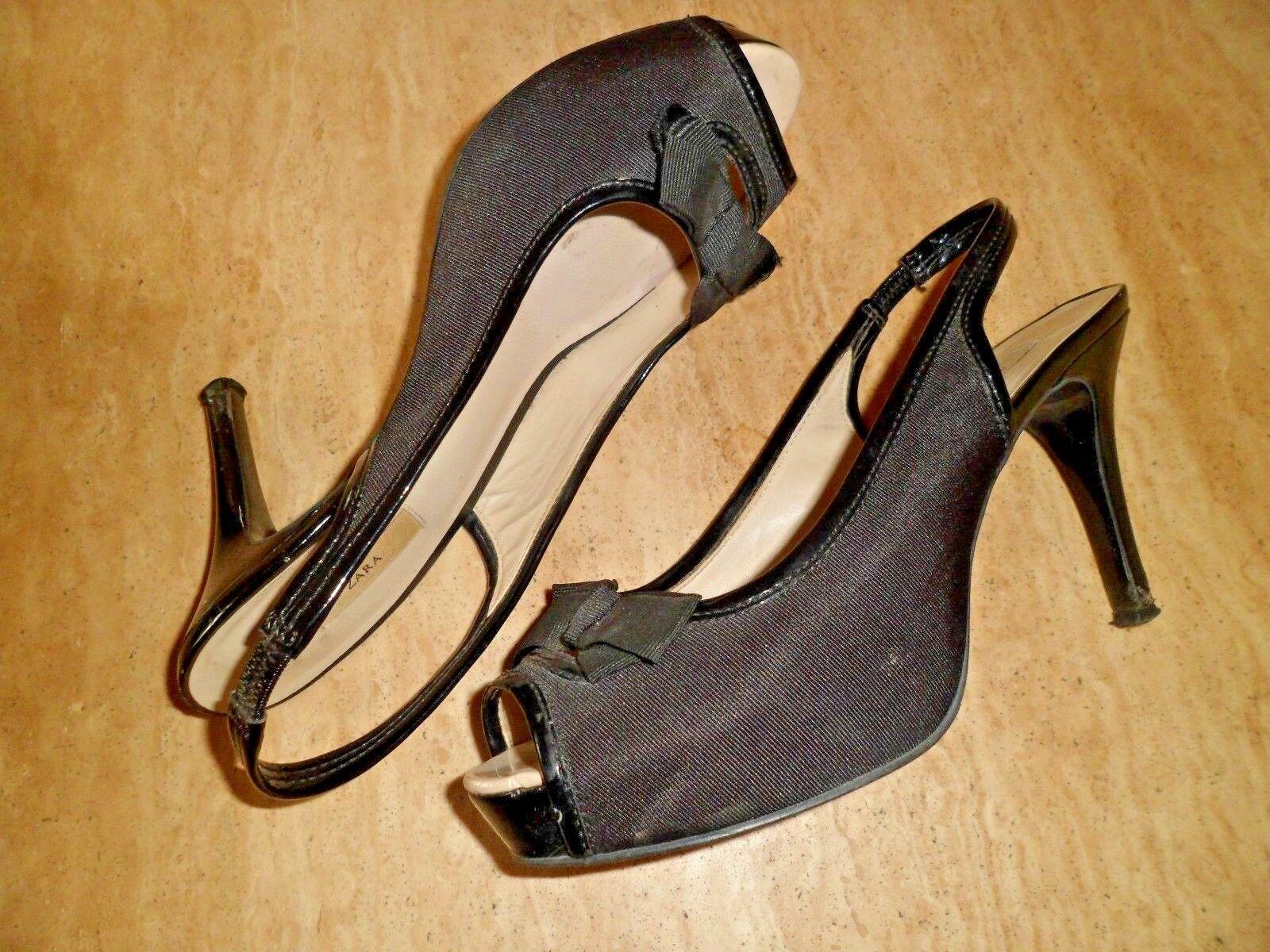 Hugo Boss Peep Peep Peep Toe Slingback Satén & Charol Zapatos EU 37 UK 4  minoristas en línea