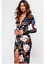John-Zack-Black-Wrap-Over-Plunge-Maxi-Midi-Dress-Floral thumbnail 1