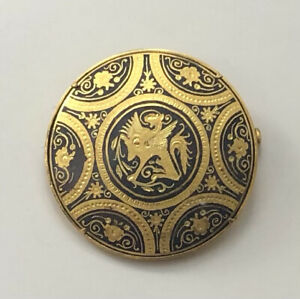 Vintage damascene  Brooch in enamel on  metal