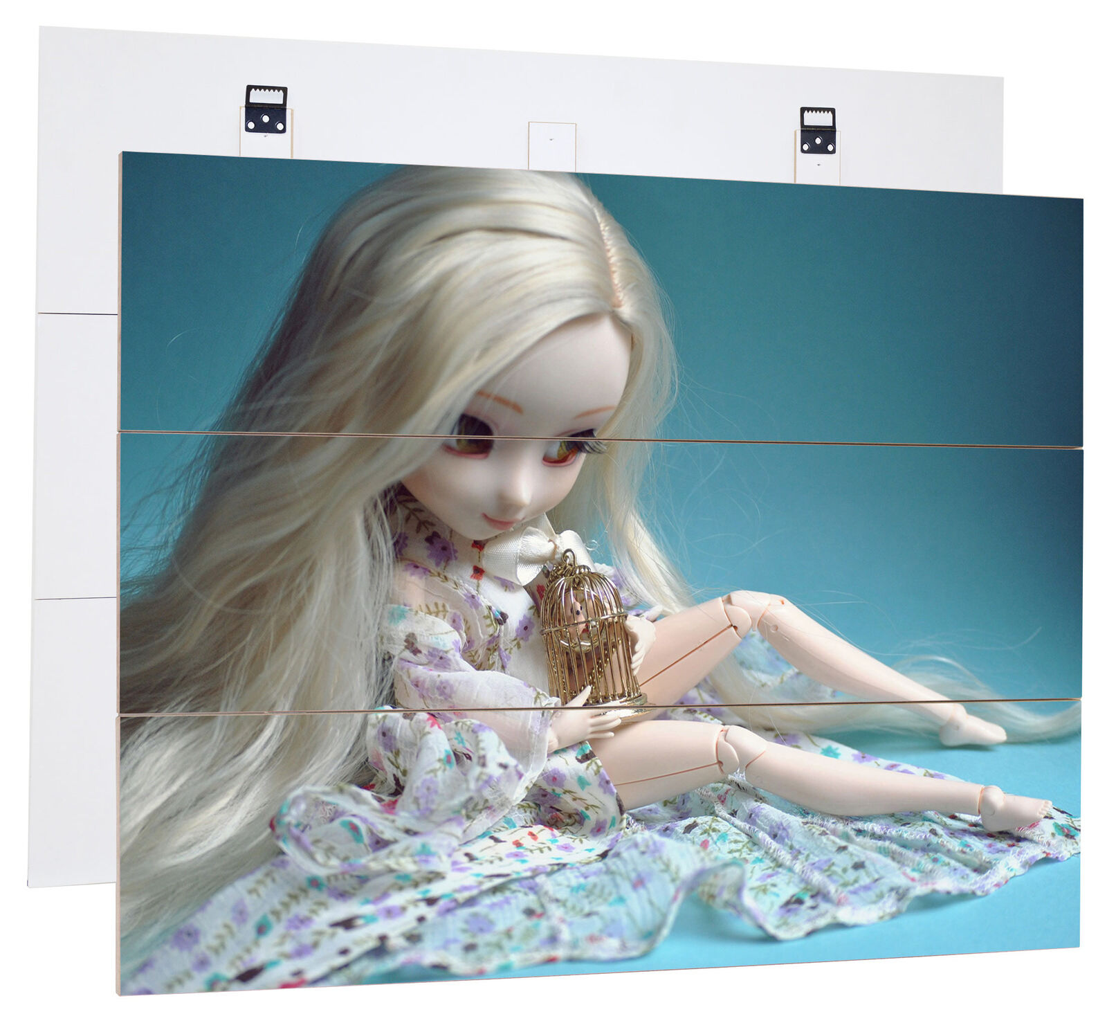 Blonde Pullip Doll With Bird Cage-MDF bois Picture in boisen Look Wall Decoration