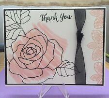 "Card Kit Set Of 4 Stampin Up Rose Wonder Watercolored ""Thank You"""