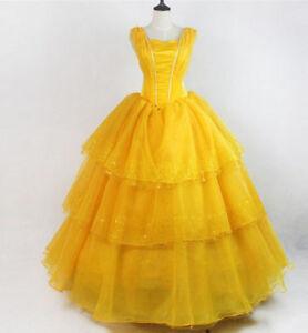 Details zu Damen Prinzessin Belle Kostüm Die Schöne Und Das Biest Kleid Cosplay Costume