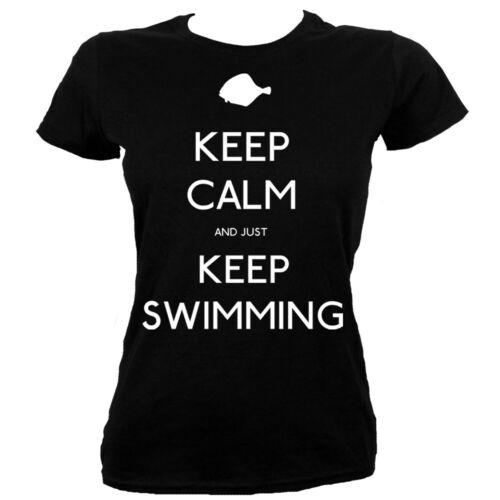 Damen T-Shirt Keep Calm and Just Keep Swimming schwarz