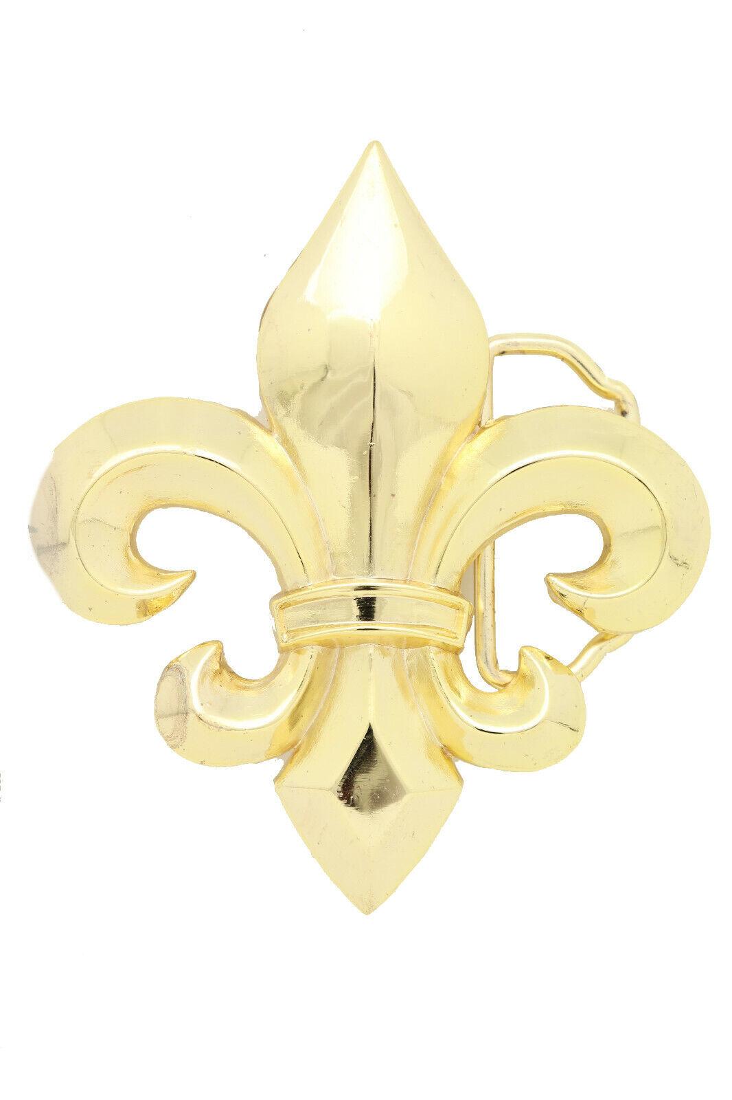 Herren Damen Gürtelschnalle Gold Metall Western Mode Stil Lilie Blume Lilie