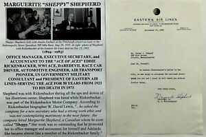 WWI ACE PRESIDENT EASTERN AIR LINES RICKENBACKER MANAGER SECY LETTER SIGNED 1960
