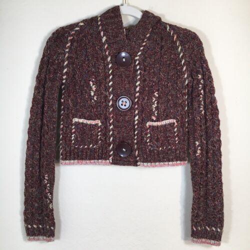 Free People Sz XS Chunky Alpaca Wool Cable Knit Ho