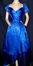 """1980'S VINTAGE BLUE LONG DRESS, RHINESTONE CLIP, REENACT, PARTY, PROM - BUST-34"""""""