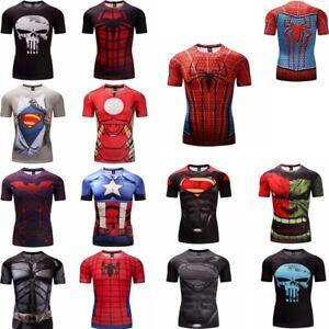 Superhero-3D-Marvel-T-shirt-Short-Sleeve-Sports-Compression-Fitness-Gym-Men-Tops