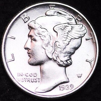 1943-D AU MERCURY DIME DENVER MINT ALMOST UNCIRCULATED 90/% SILVER COIN