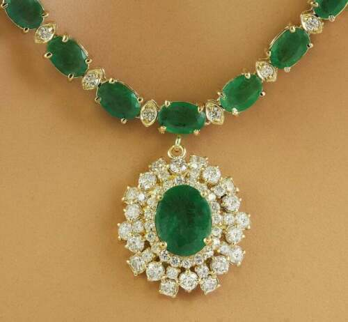 """30Ct Oval Cut Green Emerald /& Diamond 16/"""" Pendant Necklace 18Kt Yellow Gold Over"""
