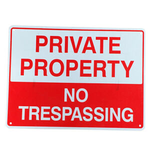 Details about 2x WARNING SIGN NO TRESPASSING 225x300mm Metal PRIVATE  PROPERTY Safe Mark Home