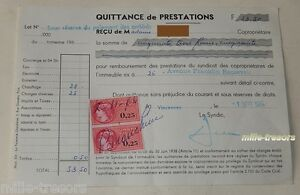 QUITTANCE-de-PRESTATIONS-du-1er-septembre-1964-TIMBRE-Fiscal-de-0-25-F-2