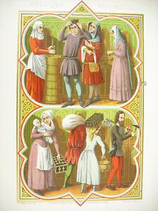 Belgium-Xive-Gens-Of-People-Ferdinand-Sere-Of-Vine-Litho-Xixth-1858-Hangard