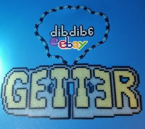 Getter kandi perler necklace rave EDC glow in the dark hama art bead melty dj