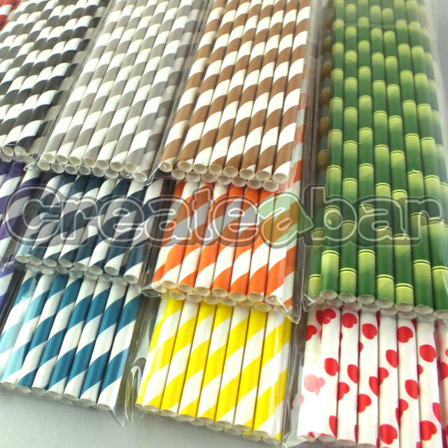 Paper Drinking Straws - Vintage Candy Twist Striped Design - All Colours