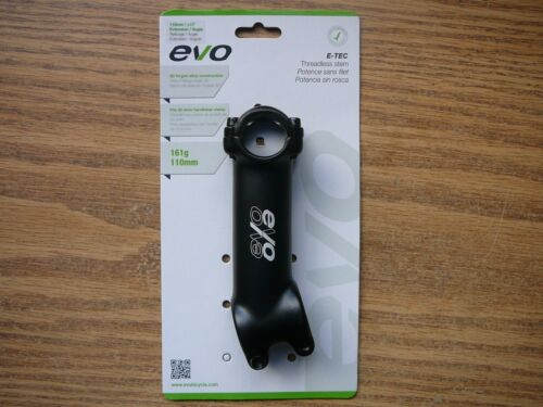 "1-1//8/"" Threadless Bicycle Stem 110mm 25.4mm Handlebar 17° Rise EVO E-Tec Black"