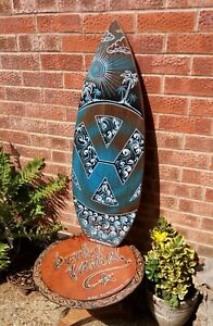 Wall-Art-VW-Surfboard-Shaped-Sun-Surf-Sand-hand-painted-unique-98x38cm