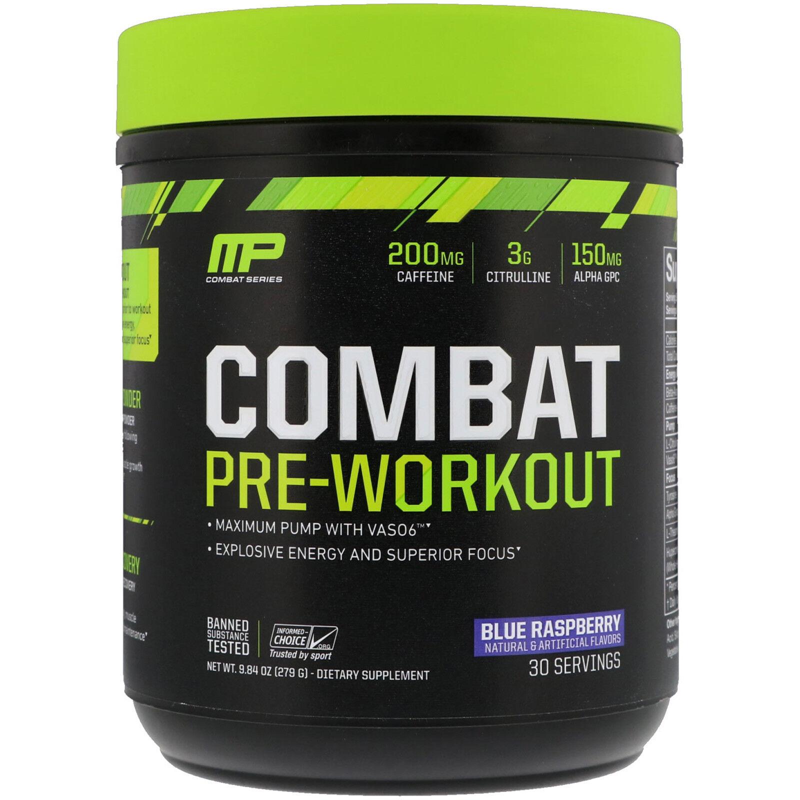 MusclePharm, Combat Pre-Workout, Blau Blau Blau Raspberry, 9.84 oz (279 g) 62e23d