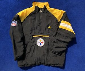 official photos 541a0 4efc2 Details about Vintage Pittsburgh Steelers Jacket Pullover Half Zip Mens  Large Black 90s NFL